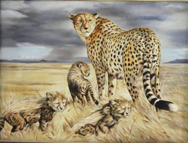 تابلو رنگ روغن یوزپلنگ