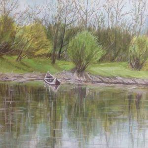 تابلو نقاشی قایق وبرکه