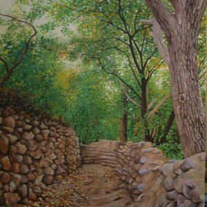تابلو نقاشی کوچه باغ