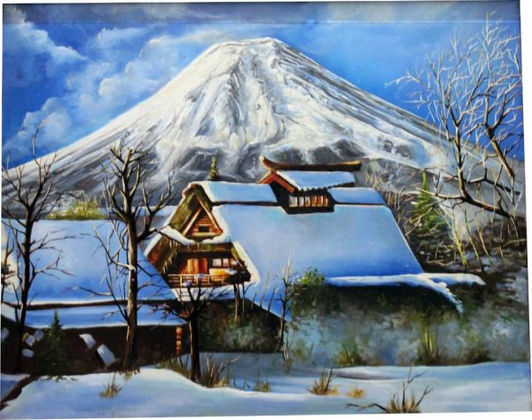 تابلو نقاشی کلبه برفی